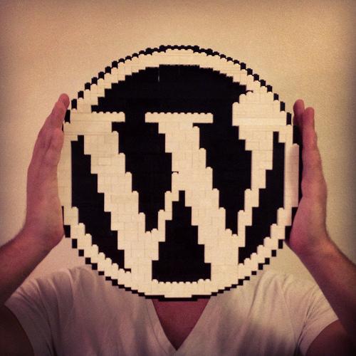 WordPressのロゴを顔の前に掲げる人