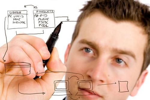 データベース設計をする男性